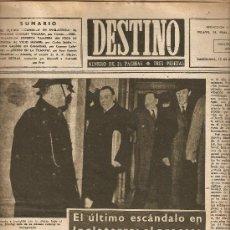 Coleccionismo de Revista Destino: AÑO 1949 LONDRES PROCESO STANLEY WULKAN PREMIO NADAL SEBASTIAN JUAN ARBO MUR OTI LLEIDA CATEDRAL. Lote 10740891
