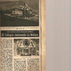 Coleccionismo de Revista Destino: REVISTA .AÑO 1953.PLA.LUIS DURAN Y VENTOSA.TEXTIL.BARCELONETA.COLEGIO.LA MOLINA.PICASSO.BLAI BONET.. Lote 10917981