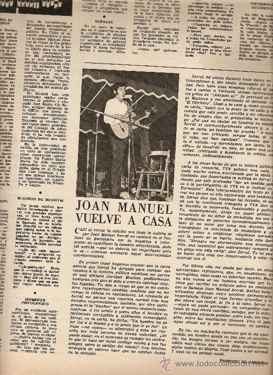 AÑO 1968 SERRAT EUROVISION ASILO LLEIDA MALLORCA CUEVAS TORRE CANYAMEL DELIBES ERMENGOL PASSOLA (Coleccionismo - Revistas y Periódicos Modernos (a partir de 1.940) - Revista Destino)