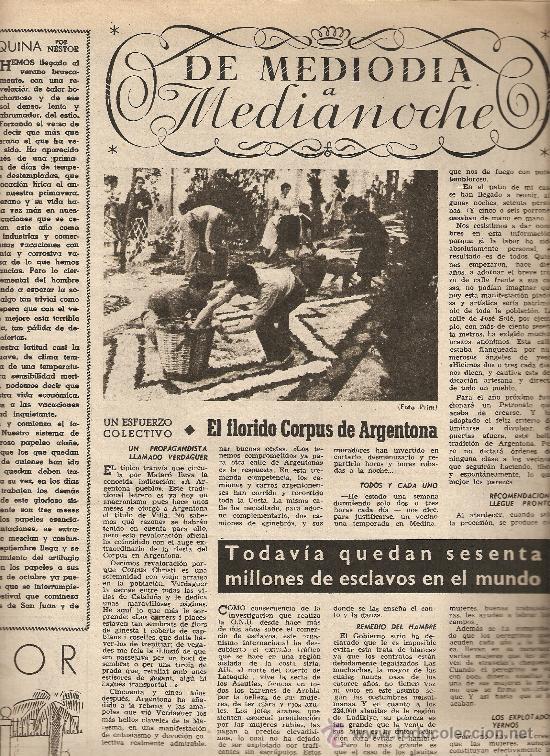 AÑO 1954 CORPUS ARGENTONA ALFOMBRAS DE FLORES MONTJUICH VERBENAS JOAN MIRO MARIUS TORRES (Coleccionismo - Revistas y Periódicos Modernos (a partir de 1.940) - Revista Destino)