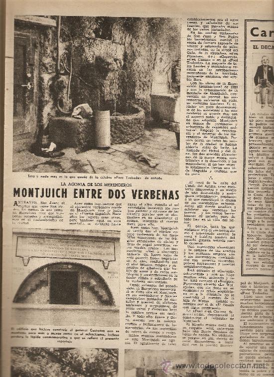 Coleccionismo de Revista Destino: AÑO 1954 CORPUS ARGENTONA ALFOMBRAS DE FLORES MONTJUICH VERBENAS JOAN MIRO MARIUS TORRES - Foto 2 - 11469591