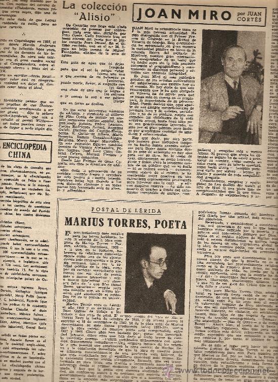 Coleccionismo de Revista Destino: AÑO 1954 CORPUS ARGENTONA ALFOMBRAS DE FLORES MONTJUICH VERBENAS JOAN MIRO MARIUS TORRES - Foto 3 - 11469591