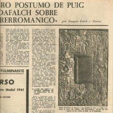 Coleccionismo de Revista Destino: AÑO 1962 MENORCA LA FLORIDA PUIG I CADAFALCH PRERROMANICO AL CANIGO SUBIRACHS ESCULTURA BILL COLEMAN. Lote 11714207