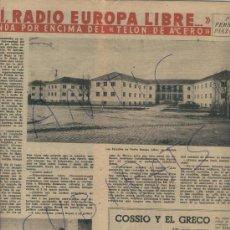 Coleccionismo de Revista Destino: REVISTA 1952 RADIO.RADIO EUROPA LIBRE TELON DE ACERO GRANJA DE DOLDELLOPS VALLS AUGUST ALGUERO. Lote 17866288