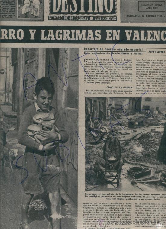 REVISTA 1957 INUNDACIONES EN VALENCIA BARRIO DE NAZARET HILLARY EN LA EXPEDICION ANTARTICA VILATO (Coleccionismo - Revistas y Periódicos Modernos (a partir de 1.940) - Revista Destino)