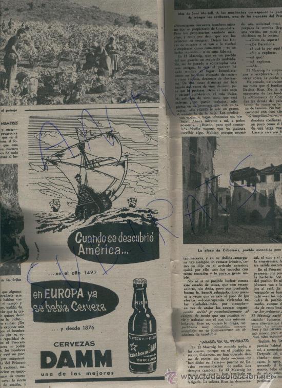 REVISTA 1957 TOLDRA DIRIGE A LA ESCOLANIA DE MONTSERRAT PRIORAT CABASSERS CERVEZA DAMM VENDIMIA (Coleccionismo - Revistas y Periódicos Modernos (a partir de 1.940) - Revista Destino)