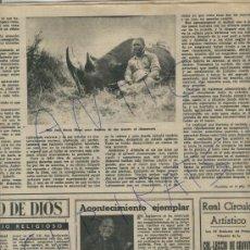 Coleccionismo de Revista Destino: REVISTA 1950 CAZA MAYOR EN AFRICA CINEGETICA RINOCERONTE JOSE MARIA BLANC CAVA JUVE I CAMPS PEMAN. Lote 17898000