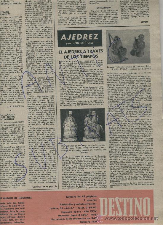 Coleccionismo de Revista Destino: REVISTA AÑO 1960 JUGUETES MUÑECAS MUÑECOS AJEDREZ FIGURAS ANTIGUAS. XVII CALISAY MIGUEL DELIBES - Foto 2 - 17983091