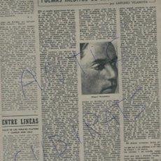 Coleccionismo de Revista Destino: 1951 IVES MONTAND POEMAS INEDITOS DE MIGUEL HERNANDEZ LUIS VALERI CRISTIAN DIOR BALENCIAGA. Lote 18020607