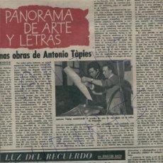 Coleccionismo de Revista Destino: CONGO ARGEL ANTONIO TAPIES PICASSO Y LOS TOROS BOLIGRAFO BIC GUITARRISTA CALOS SANTIAS GUITARRA. Lote 18313604