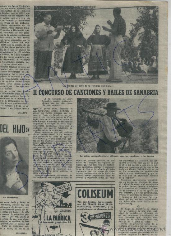 1953 II CONCURSO DE CANCIONES Y BAILES DE SANABRIA RIBADELAGO GAITA GAITEROS PALAFRUGELL TOSSA (Coleccionismo - Revistas y Periódicos Modernos (a partir de 1.940) - Revista Destino)