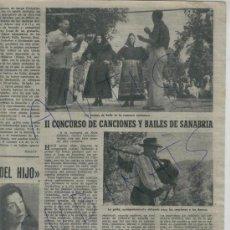 Coleccionismo de Revista Destino: 1953 II CONCURSO DE CANCIONES Y BAILES DE SANABRIA RIBADELAGO GAITA GAITEROS PALAFRUGELL TOSSA. Lote 18318914