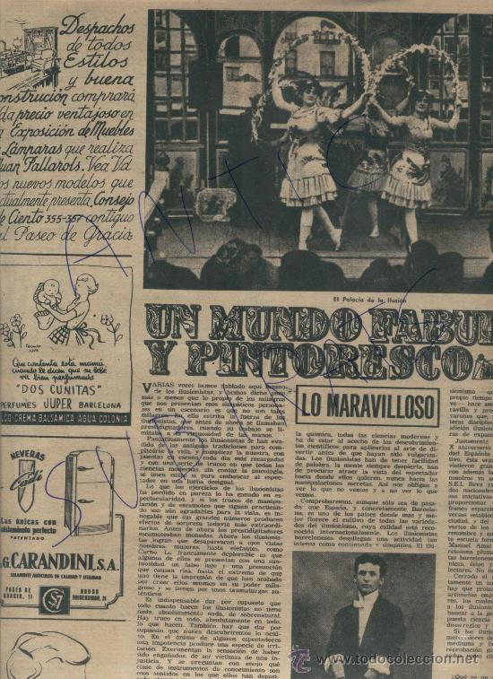 REVISTA 1953 ILUSIONISMO MAGIA FAQUIR MAGO HIRSTON ILUSIONISTA DELPRADE HOUDINI VENTRIL0CUO LLOVET (Coleccionismo - Revistas y Periódicos Modernos (a partir de 1.940) - Revista Destino)