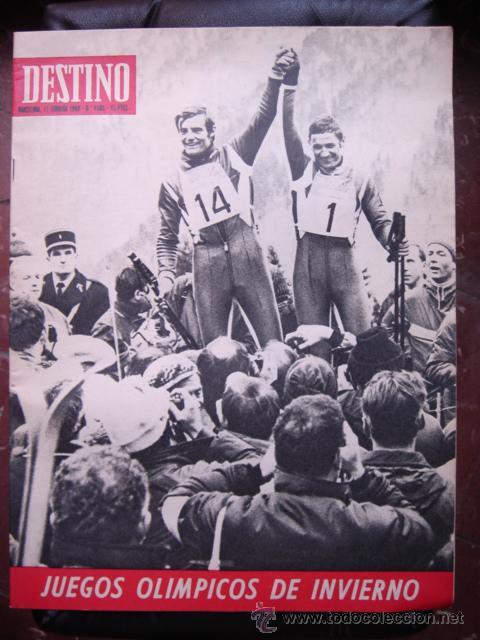 REVISTA DESTINO 17 FEBRERO 1968 PORTADA JUEGOS OLÍMPICOS DE INVIERNO (Coleccionismo - Revistas y Periódicos Modernos (a partir de 1.940) - Revista Destino)