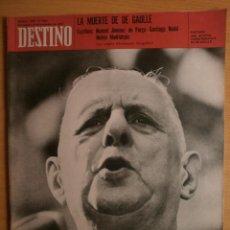 Collectionnisme de Magazine Destino: DESTINO Nº1728.1970. DE GAULLE.INUNDACIONES-TER,FEDERICO CORREA,1870-HISTORIA-ESPAÑA,REMBRANDT,GOYA.. Lote 40194996