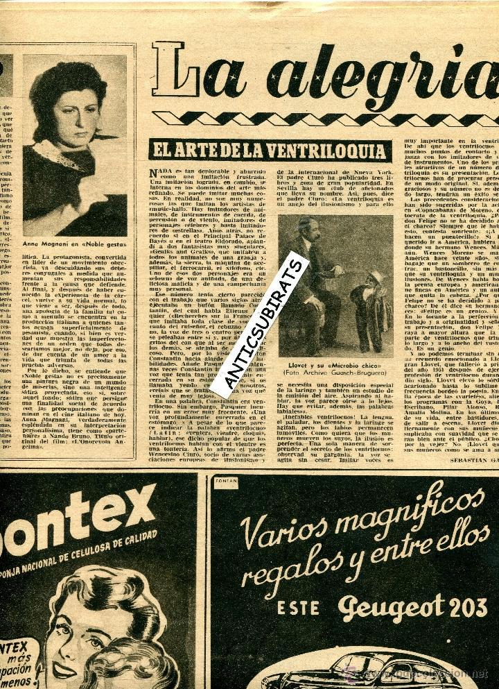 Coleccionismo de Revista Destino: REVISTA 1953 ILUSIONISMO MAGIA FAQUIR MAGO HIRSTON ILUSIONISTA DELPRADE HOUDINI VENTRIL0CUO LLOVET - Foto 2 - 18319275