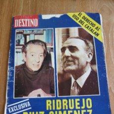 Coleccionismo de Revista Destino: F 224 DESTINO Nº 1969.BARCELONA 28.06.75 EXCLUSIVA RIDRUEJO RUIZ GIMENEZ DERECHO DEL USO DEL CATALÁN. Lote 43817632