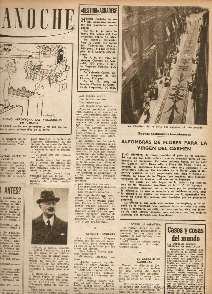 AÑO 1952 ALFOMBRA FLORES CALLE DEL CARMEN BCNA FERIA LIBROS VIEJOS MERCAT SANT ANTONI SEGOVIA POESIA (Coleccionismo - Revistas y Periódicos Modernos (a partir de 1.940) - Revista Destino)