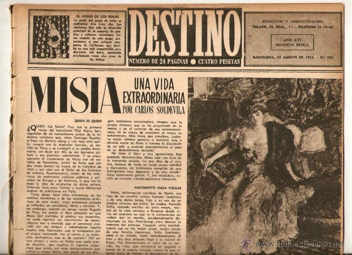 AÑO 1952 MISIA JOSE MARIA SERT VERDAGUER FOLGUEROLES COSTA BRAVA CADAQUES TOSSA S'AGARO AIGUA BLAVA (Coleccionismo - Revistas y Periódicos Modernos (a partir de 1.940) - Revista Destino)