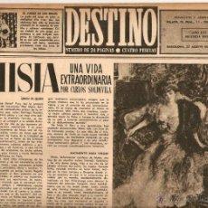 Coleccionismo de Revista Destino: AÑO 1952 MISIA JOSE MARIA SERT VERDAGUER FOLGUEROLES COSTA BRAVA CADAQUES TOSSA S'AGARO AIGUA BLAVA . Lote 44717608