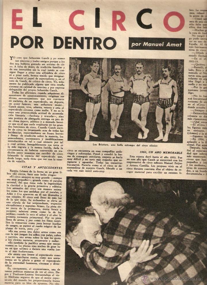 AÑO 1962 EMILIO BRUGALLA ENCUADERNACION FELIX CUCURULL EL CIRCO MUSICA PARA ORQUESTA MOMPOU PROFIDEN (Coleccionismo - Revistas y Periódicos Modernos (a partir de 1.940) - Revista Destino)
