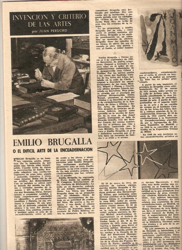 Coleccionismo de Revista Destino: AÑO 1962 EMILIO BRUGALLA ENCUADERNACION FELIX CUCURULL EL CIRCO MUSICA PARA ORQUESTA MOMPOU PROFIDEN - Foto 2 - 45036513
