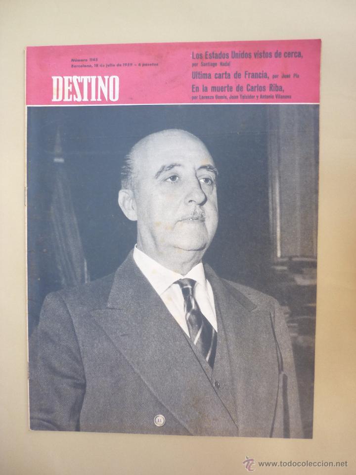 Coleccionismo de Revista Destino: 50 REVISTA DESTINO - NUMEROS 1118 y 1120 AL 1168 - AÑO 1959 - Foto 2 - 177897497