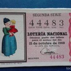 Coleccionismo de Revista Destino: DECIMO DE LOTERIA DE 1969 SORTEO 29. Lote 56851175