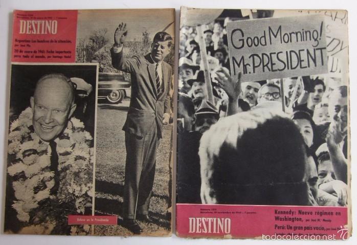 DOS REVISTAS DESTINO - KENNEDY PRESIDENTE DE ESTADOS UNIDOS (Coleccionismo - Revistas y Periódicos Modernos (a partir de 1.940) - Revista Destino)