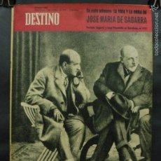 Coleccionismo de Revista Destino: REVISTA DESTINO Nº 1261 - 7 OCTUBRE 1961-LA VIDA Y OBRA DE JOSÉ MARÍA SAGARRA FOTO DE ÉL EN PORTADA. Lote 58977365