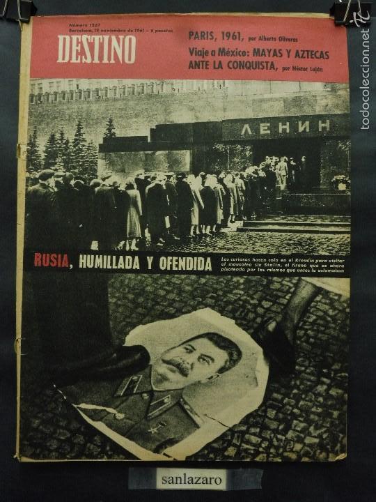REVISTA DESTINO Nº 1267 - 18 NOVIEMBRE 1961-RUSIA HUMILLADA Y OFENDIDA-VIAJE A MEXICO-PARIS 1961 (Coleccionismo - Revistas y Periódicos Modernos (a partir de 1.940) - Revista Destino)