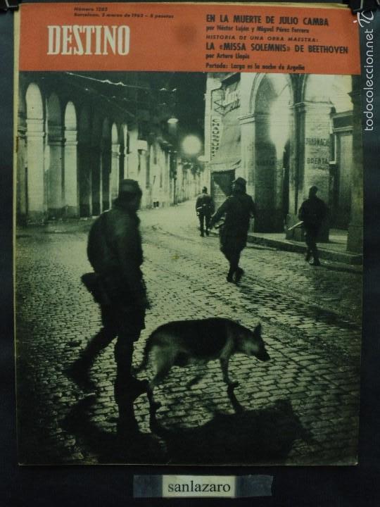 REVISTA DESTINO Nº 1282 - 3 MARZO 1962-LA NOCHE ES LARGA EN ARGELIA-EN LA MUERTE DE JULIO CAMBA (Coleccionismo - Revistas y Periódicos Modernos (a partir de 1.940) - Revista Destino)