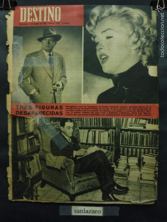 REVISTA DESTINO Nº 1305 -11 AGOSTO 1962- TRES FIGURAS DESAPARECIDAS-LA BARCELONA VENEZOLANA (Coleccionismo - Revistas y Periódicos Modernos (a partir de 1.940) - Revista Destino)
