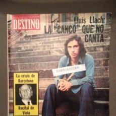 Coleccionismo de Revista Destino: DESTINO NUM. 182 25 SET 1975: LLUIS LLACH, VIOLA, LEWIS CARROLL, ANTONIONI, TABANO. Lote 62965028