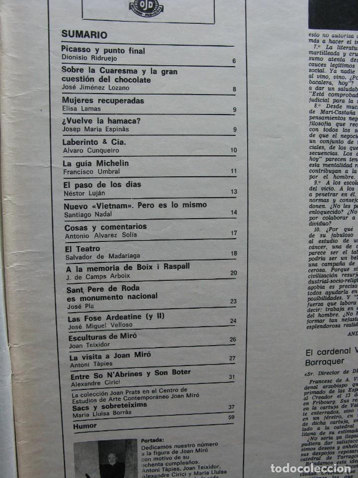 Coleccionismo de Revista Destino: PPRLY - JOAN MIRÓ: 80 AÑOS. LA COLECCIÓN JOAN PRATS. VER SUMARIO. - Foto 3 - 85882512