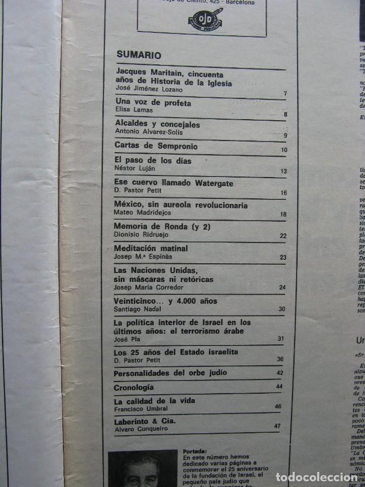 Coleccionismo de Revista Destino: PPRLY - 25 ANIVERSARIO DE LA FUNDACIÓN DE ISRAEL. CARTAS DE SEMPRONIO. VER SUMARIO. - Foto 4 - 85890732