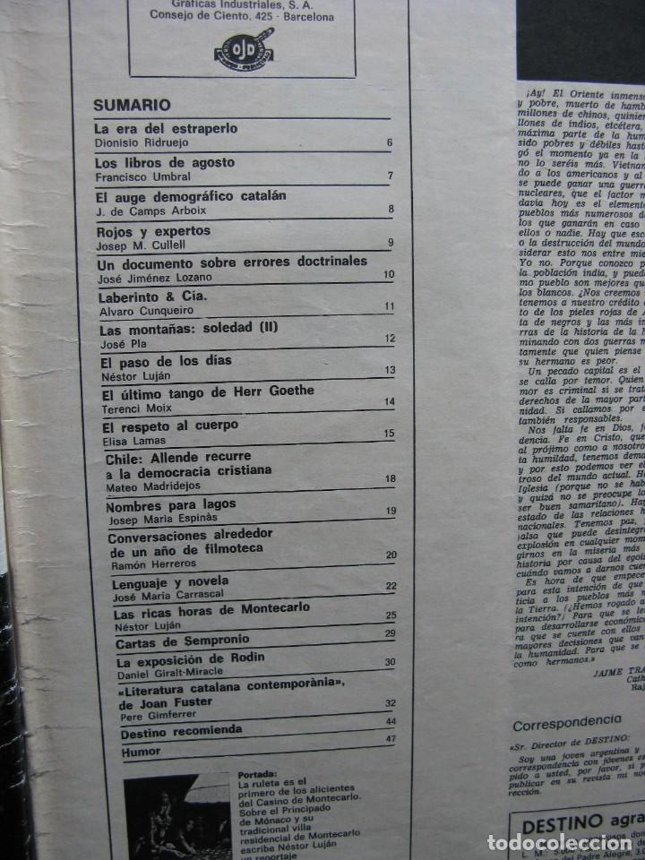 Coleccionismo de Revista Destino: PPRLY - EL ÚLTIMO TANGO DE HERR GOETHE. LITERATURA CATALANA CONTEMPORÀNIA. VER SUMARIO. - Foto 13 - 89641148
