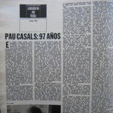 Coleccionismo de Revista Destino: PPRLY - PAU CASALS: 97 AÑOS. MIGUEL COSTA Y LLOBERA. BARTOLOMÉ TORRAS GOST. VER SUMARIO.. Lote 89647256