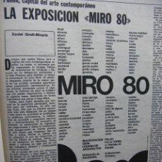 Coleccionismo de Revista Destino: PPRLY - EXPOSICIÓN MIRÓ 80 - SAU: EN BUSCA DEL TIEMPO PERDIDO. VER SUMARIO.. Lote 92055980