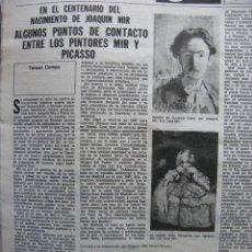 Coleccionismo de Revista Destino: PPRLY - ALGUNOS PUNTOS DE CONTACTO ENTRE LOS PINTORES MIR Y PICASSO. VER SUMARIO.. Lote 92059030