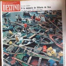 Coleccionismo de Revista Destino: REVISTA DESTINO / A LA MEMORIA DE VITTORIO DE SICA / Nº 1938 / 23 NOVIEMBRE 1974. Lote 96823035