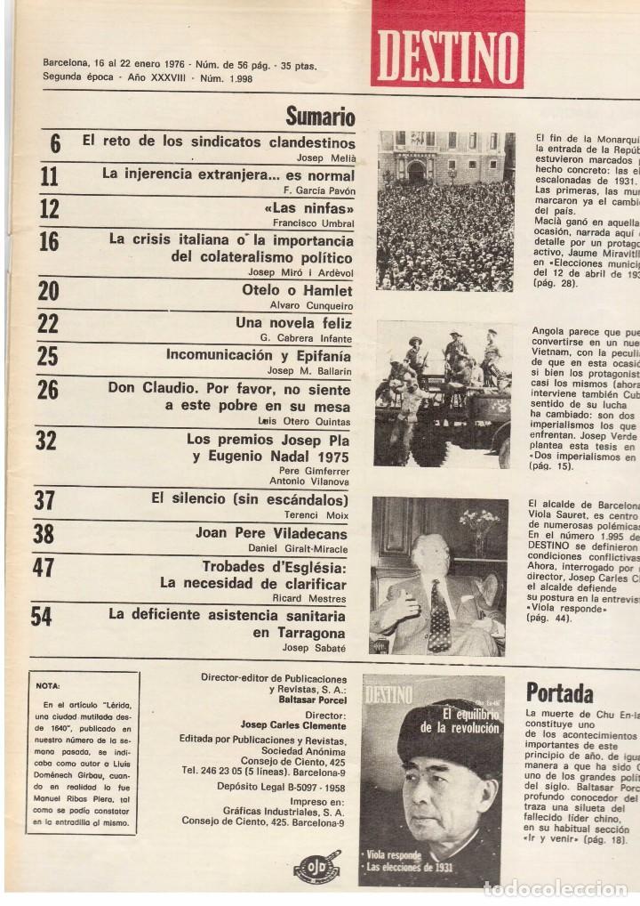 LLUIS COMPANYS. LAS ELECCIONES MUNICIPALES DE 12 DE ABRIL DE 1931. 1976. VER SUMARIO. (Coleccionismo - Revistas y Periódicos Modernos (a partir de 1.940) - Revista Destino)