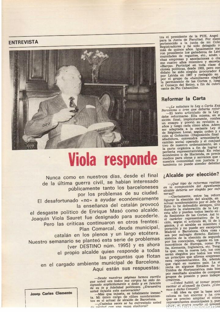 Coleccionismo de Revista Destino: LLUIS COMPANYS. LAS ELECCIONES MUNICIPALES DE 12 DE ABRIL DE 1931. 1976. Ver sumario. - Foto 4 - 108756191