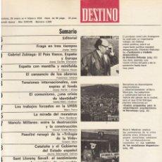 Coleccionismo de Revista Destino: SERRAT EN PARÍS. REHABILITACIÓN DE BARCELONA. SANT LLORENÇ SAVALL. 1976. VER SUMARIO.. Lote 108792783