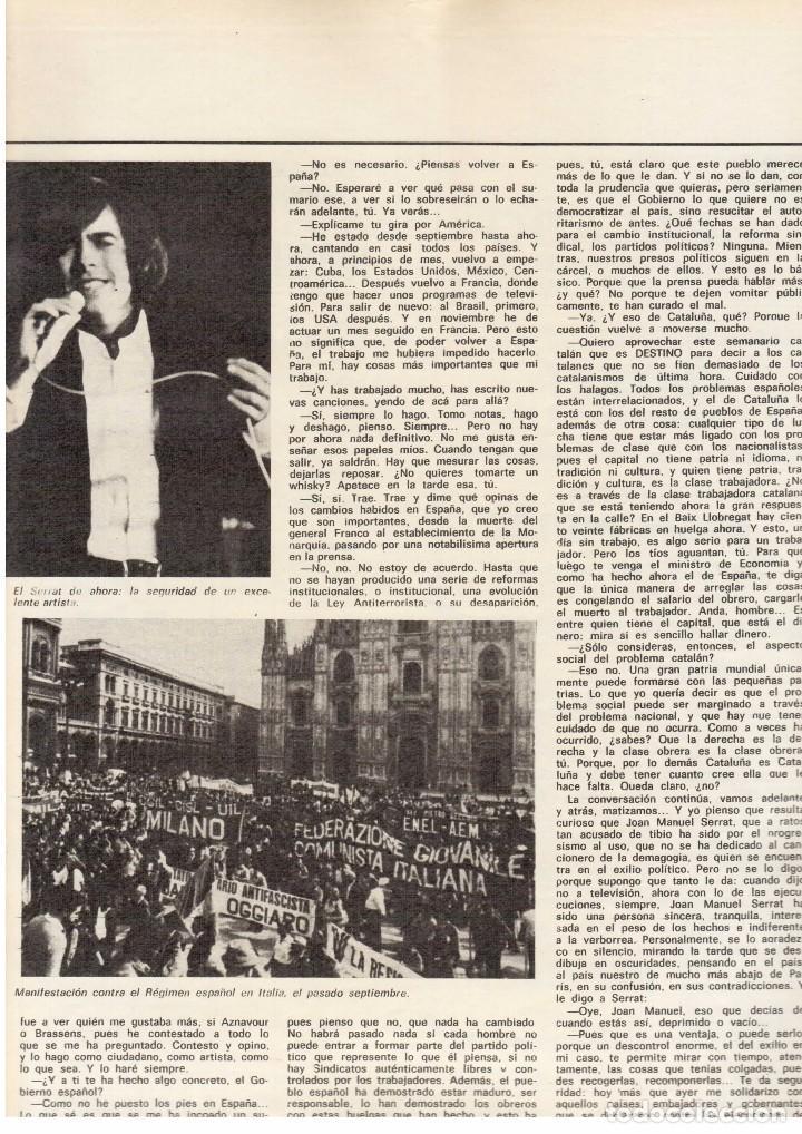 Coleccionismo de Revista Destino: SERRAT EN PARÍS. REHABILITACIÓN DE BARCELONA. SANT LLORENÇ SAVALL. 1976. Ver sumario. - Foto 6 - 108792783