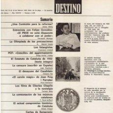 Coleccionismo de Revista Destino: ESTATUTO DE 1932 (TEXTO INTEGRO). RAIMON EN MADRID. LLUIS COMPANYS. 1976. VER SUMARIO.. Lote 108984915