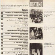Coleccionismo de Revista Destino: LLUIS COMPANYS. L'ESQUERRA REPUBLICANA DE CATALUNYA. GARCIA LORCA INÉDITO. CRUYFF .1976 VER SUMARIO.. Lote 108987019
