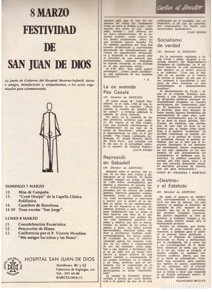Coleccionismo de Revista Destino: TARRADELLAS. LOS ONOFRI. JOAN BROSSA. PI DE LA SERRA. CELDONI FONOLL.SAMARANCH (VER SUMARIO) - Foto 3 - 113990883