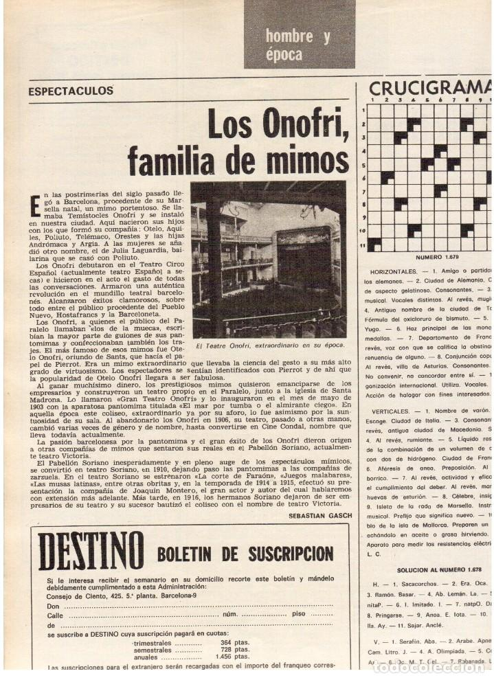 Coleccionismo de Revista Destino: TARRADELLAS. LOS ONOFRI. JOAN BROSSA. PI DE LA SERRA. CELDONI FONOLL.SAMARANCH (VER SUMARIO) - Foto 4 - 113990883