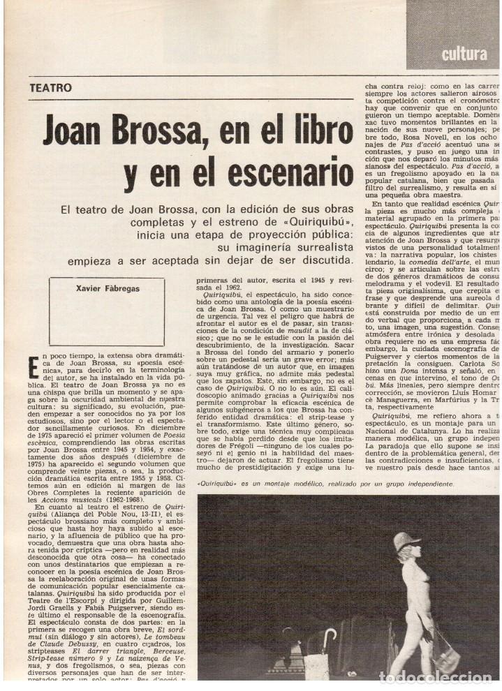 Coleccionismo de Revista Destino: TARRADELLAS. LOS ONOFRI. JOAN BROSSA. PI DE LA SERRA. CELDONI FONOLL.SAMARANCH (VER SUMARIO) - Foto 5 - 113990883